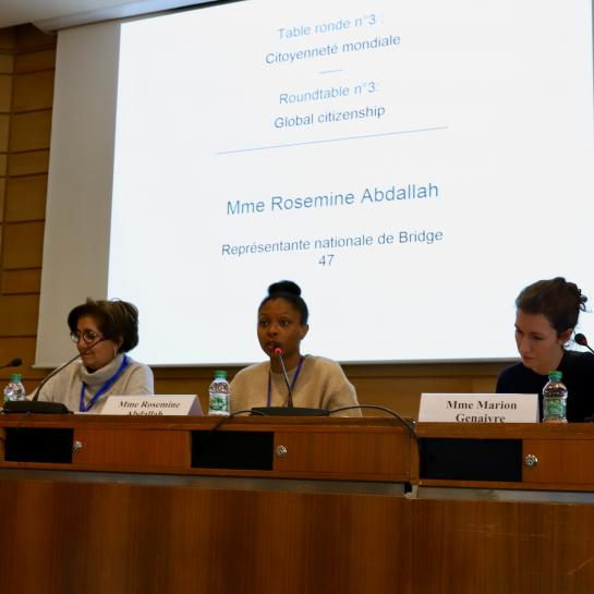 Rosemine Abdallah represented Bridge 47 in a panel discussion on Global Citizenship at the House of UNESCO in Paris