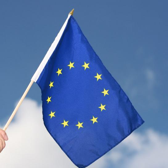 Hand waving EU flag