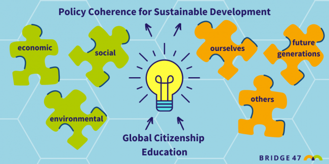 Jigsaw and lightbulb showing global citizenship education supports joined-up thinking for policy coherence